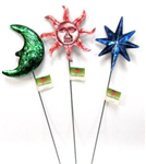 Yard stake mettallic sun/moon/star