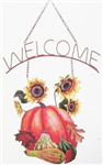 Fall welcome sign pumpkin and gourds