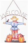 Fall welcome sign scarecrow