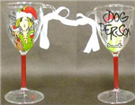 Chr orn wine glass dog person